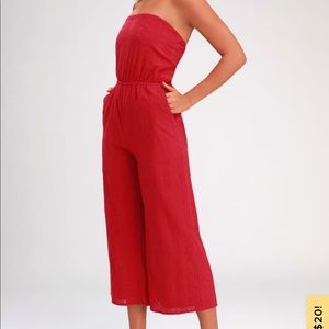 Red embroidered strapless jumpsuit